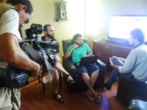 Godoy, Moreira e Petherson Lacerda  (diretor da Aprimorar) gravando entrevista para a TV Integração.